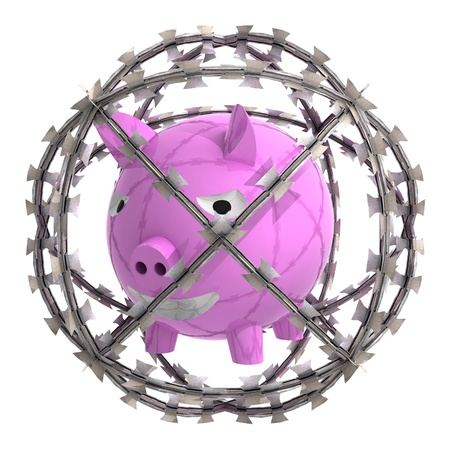 pig iron: isolated pig in barbed wire sphere illustration