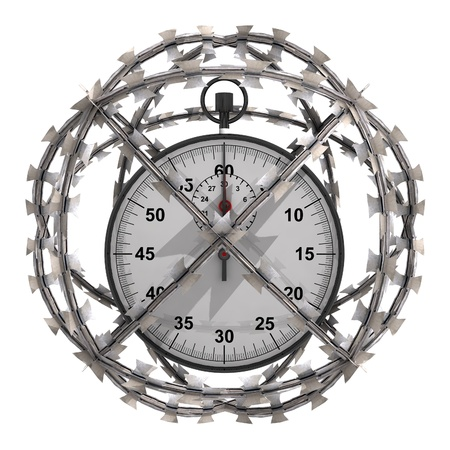 big timer: isolated stopwatch in barbed wire sphere illustration