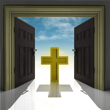 expect: holy cross in golden framed doorway with sky illustration