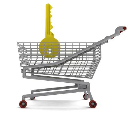 golden key in shoping cart on white illustration Stock Photo