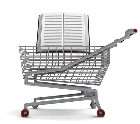 profusion: education book in shoping cart on white illustration Stock Photo