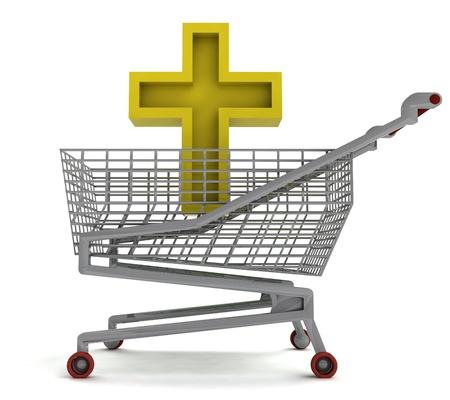 godness: golden holy cross in shoping cart on white illustration