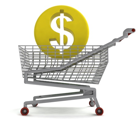 profusion: american dollar coin in shoping cart on white illustration Stock Photo