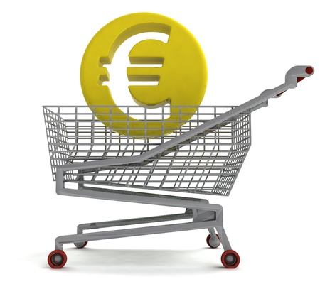 profusion: euro coin in shoping cart on white illustration