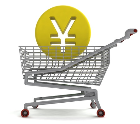 shoping: yuan or yen coin in shoping cart on white illustration