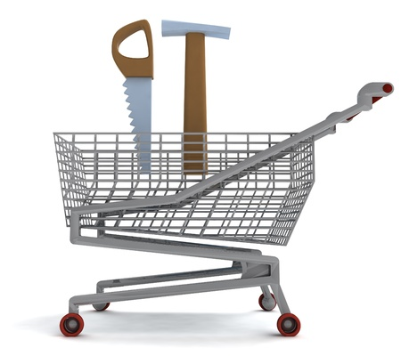 dyi: shoping cart with hammer and saw on white illustration