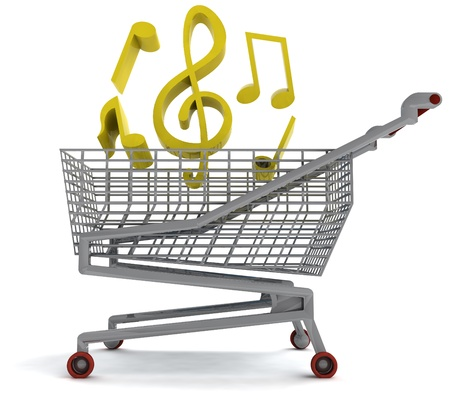 profusion: shoping cart full of music on white illustration