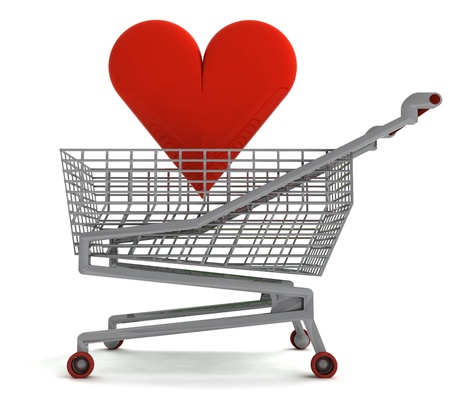 profusion: shoping cart with red heart on white illustration Stock Photo
