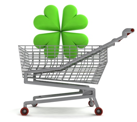 shoping cart with green cloverleaf on white illustration illustration