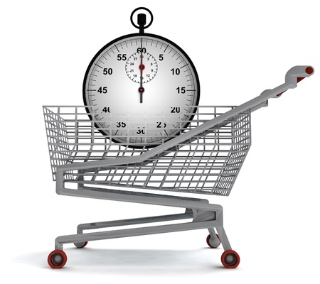 profusion: shoping cart with stopwatch on white illustration