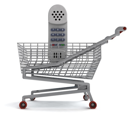 profusion: shoping cart with hand phone on white illustration Stock Photo