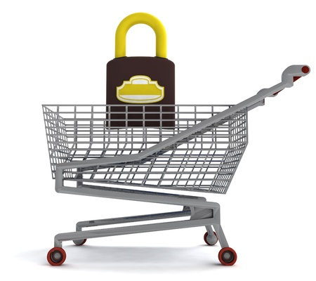 profusion: shoping cart with closed padlock on white illustration Stock Photo