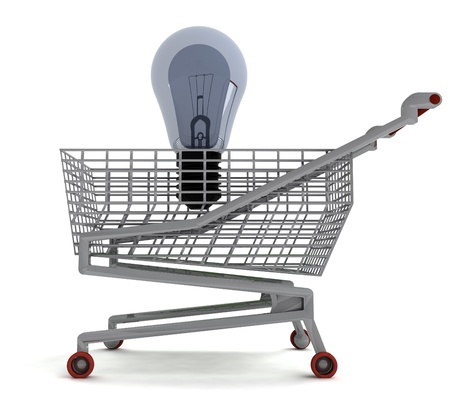 profusion: shoping cart with bubl on white illustration Stock Photo