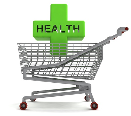 profusion: shoping cart with health cross on white illustration Stock Photo