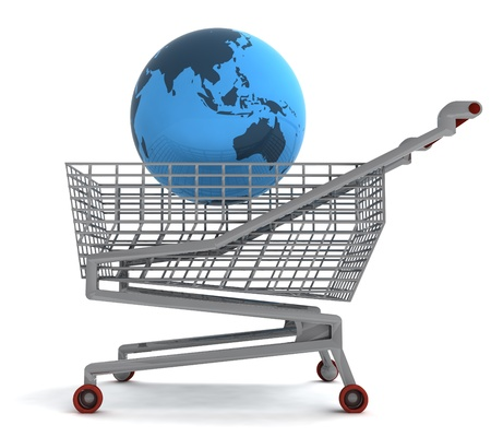 profusion: shoping cart with asia on globe illustration