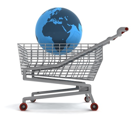 profusion: shoping cart with africa on globe illustration