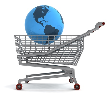 profusion: shoping cart with america on globe illustration