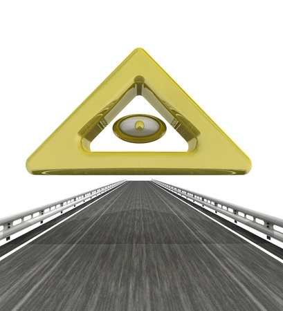 godness: isolated highway with golden god eye illustration