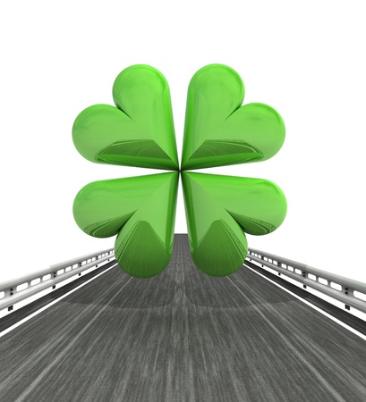 felicity: isolated highway with green cloverleaf illustration Stock Photo