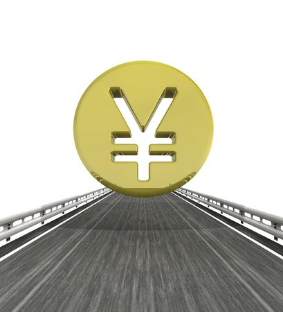 outdoor advertising construction: isolated highway with yen or yuan coin illustration