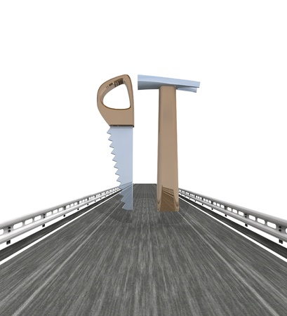 dyi: isolated highway with saw and hammer tools illustration Stock Photo