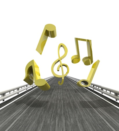 isolated highway with flying music sounds illustration Stock Photo