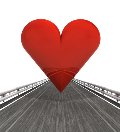 outdoor advertising construction: isolated highway with red heart illustration
