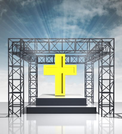 godness: show stage with golden cross and sky flare illustration