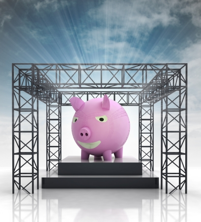 pig iron: show stage with pink pig and sky flare illustration