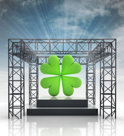show stage with green cloverleaf and sky flare illustration Stock Illustration - 21107035