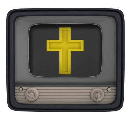 godness: isolated golden cross in retro television illustration