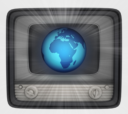 retro television with africa globe and flare illustration illustration