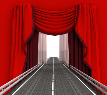 highway road leading through red curtain illustration illustration