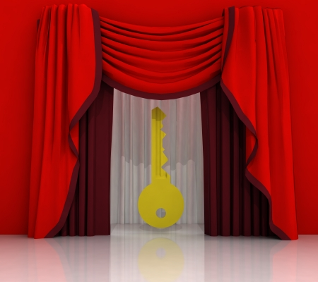 red curtain scene with golden key illustration illustration
