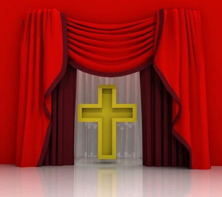 godness: red curtain scene with golden cross illustration Stock Photo