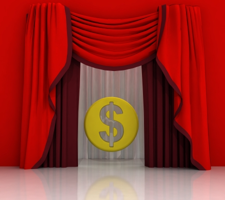 red curtain scene with american dollar coin illustration illustration