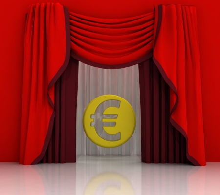 red curtain scene with euro coin illustration illustration