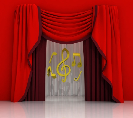 red curtain scene with music sounds illustration illustration