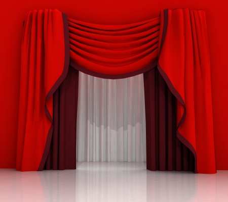 closed red curtain scene illustration illustration