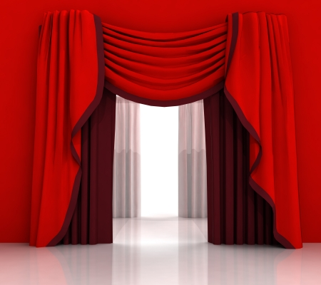 opened red curtain with white background illustration illustration