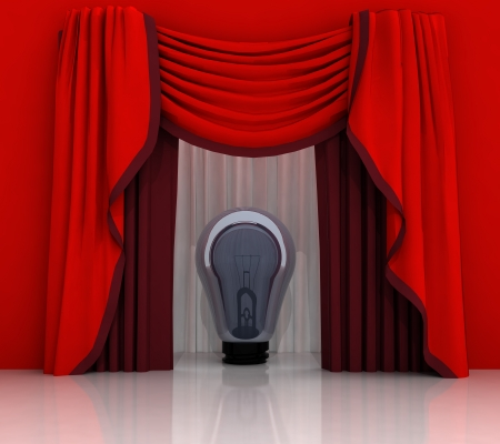 red curtain scene with shiny bulb illustration Stock Illustration - 21107083
