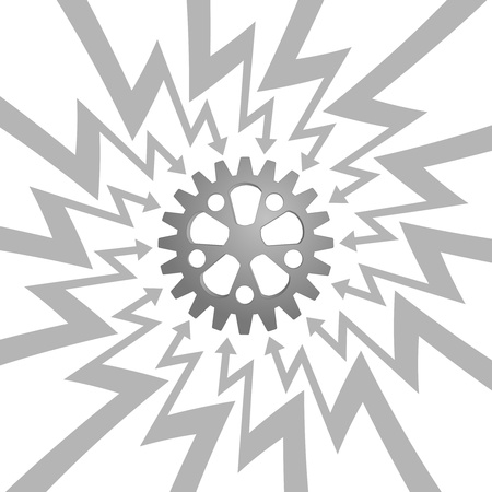 steel gear wheel in arrow zigzag circle vector illustration illustration