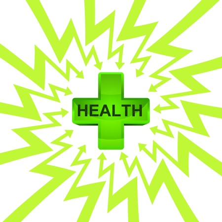 green health cross in arrow zigzag circle vector illustration illustration