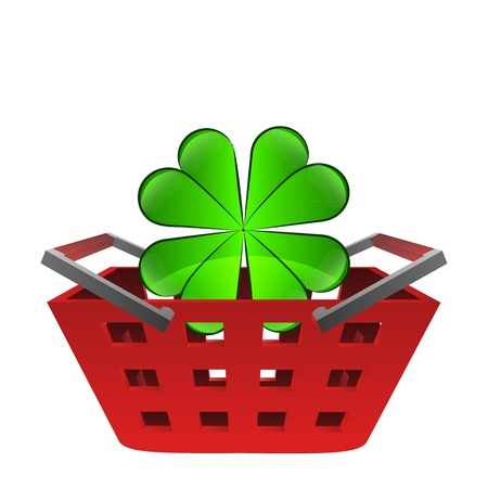 green happy cloverleaf in red basket vector illustration illustration