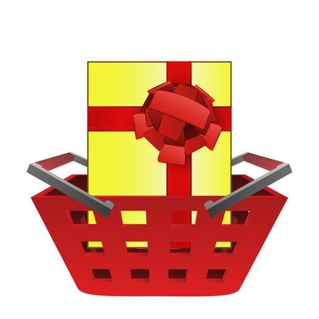 gift basket: gift surprise in red basket vector illustration Stock Photo