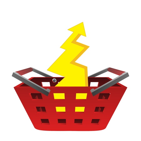 yellow lightning in red basket vector illustration illustration