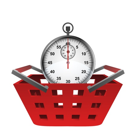 red basket and glossy stopwatch vector illustration illustration