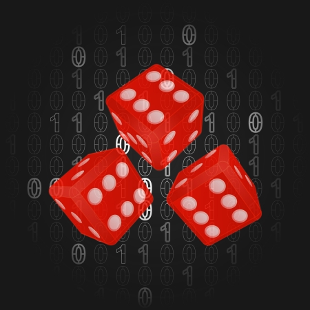 three gamble dice in binar code background vector illustration illustration