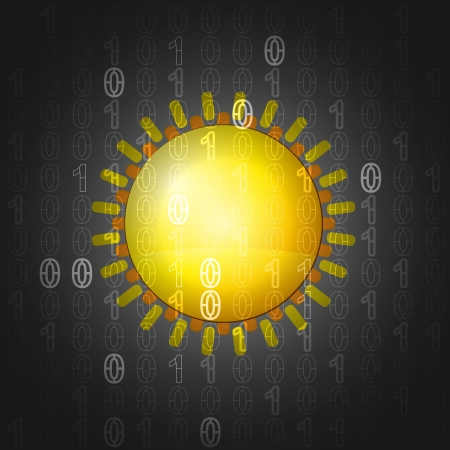 shiny sun on binar code background vector illustration illustration