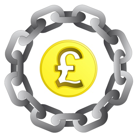 pound coin in strong steel circle chain vector illustration illustration